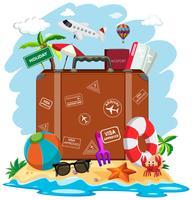 Ein Koffer im Sommerstrand vektor