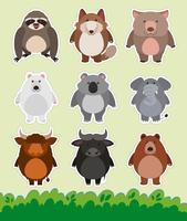 Aufkleberdesign mit niedlichen Tieren auf Gras