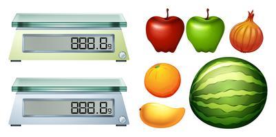 Måttvågar och färska frukter vektor