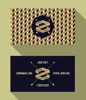 Visitenkarteschablone, Retro- Hintergrund der Weinlese mit geometrischem vektor