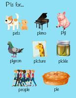 Viele Wörter beginnen mit dem Buchstaben P