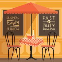 Moderne flache Designillustration des Vektors des Straßencafés.