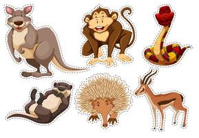 Aufkleber mit verschiedenen Tierarten vektor