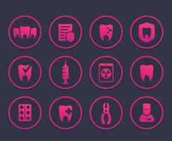 Zähne, Oralmedizin, Zahnpflege-Icons gesetzt vektor