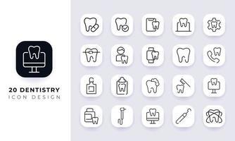 Strichzeichnungen unvollständige Zahnheilkunde Icon Pack. vektor