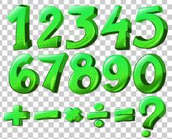 Numrerar i grön färg