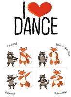 Tiere und Tanz bewegen sich vektor