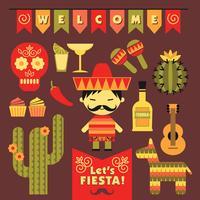 Vektor uppsättning med traditionella mexikanska symboler.