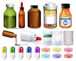 Set von Pillen und Medikamentenbehältern