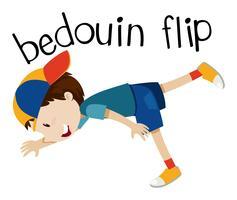 Wordcard für Beduinen Flip mit Jungen Flip vektor