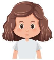 En lockig hår brunett tjej karaktär vektor