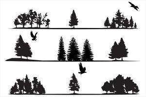 Bäume Silhouetten Sammlung auf weißem Hintergrund, auf verschiedenen Ebenen vektor