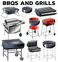 Sats med bbqs och grillutrustning vektor