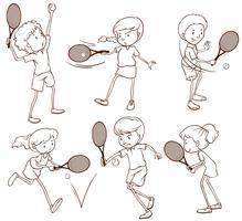 Skizzen von Menschen, die Tennis spielen vektor