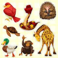 Klistermärke design för djur med lyckligt ansikte