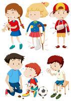 Eine Reihe von Kindern und Unfall vektor