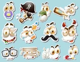 Klistermärke design med olika mänskliga ansikten