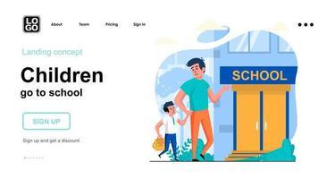 Kinder gehen zur Schule Webkonzept Zielseitenvorlage vektor