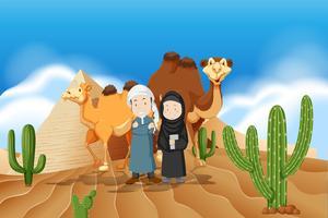Arabiskt par i öknen vektor