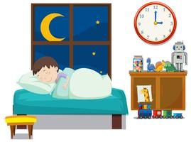 En pojke som sover i sovrummet vektor