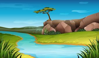 River natur landskap scen vektor