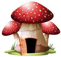 En svamphus på whiyr bakgrund