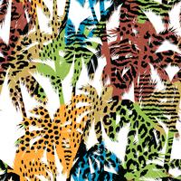 Trendigt sömlöst exotiskt mönster med palm- och djurprins