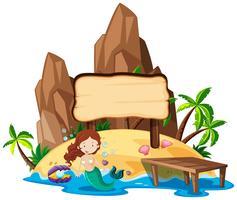 Brettschablone mit Meerjungfrau auf Insel vektor