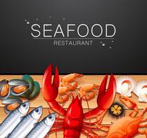 Fisk och skaldjur på restaurangmall