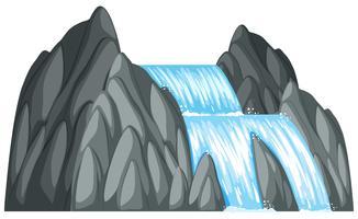 Wasserfall den Felsen hinunter vektor