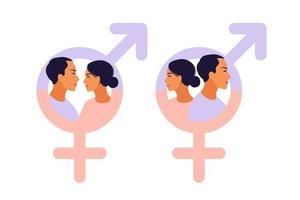 Männer- und Frauensymbol. Gleichstellungssymbol der Geschlechter. vektor