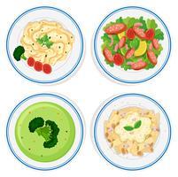 Verschiedene Arten von Lebensmitteln auf Teller vektor