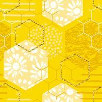 Seamless geometriska mönster med honungskaka. Trendiga handdragen texturer. vektor