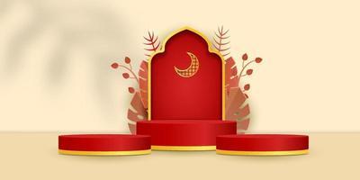 3D islamischer Display-Podestdekorationshintergrund vektor