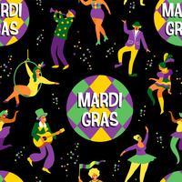 Mardi gras. Sömlöst mönster med roliga dansande män och kvinnor i ljusa kostymer vektor
