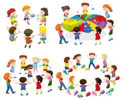 Kinder, die verschiedene Spiele spielen vektor