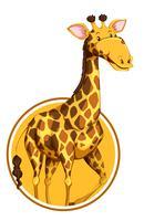 Eine Giraffe auf Aufkleberschablone vektor