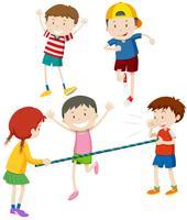 Pojkar och tjejer leker med bar vektor
