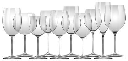 Weingläser in verschiedenen Größen vektor