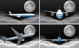 Fyra scener med flygplan som flyger på natten