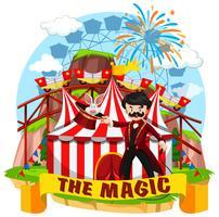 Zirkusszene mit Magier und Fahrgeschäften
