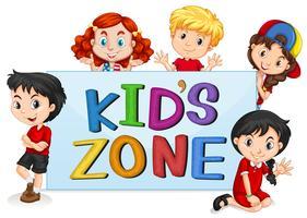 Kinderzone mit internationalen Kindern vektor