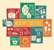 Vektor illustration av hälsosam livsstil.