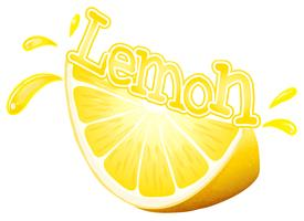 Font design för ord citron med färska citronskivor vektor