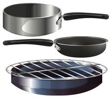 Olika matlagning utrustning på vit bakgrund vektor