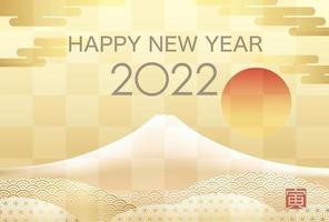 2022 Neujahrskarte mit mt. Fuji-Textübersetzung - Tiger. vektor