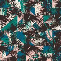 Modisches nahtloses exotisches Muster mit Palme, Tierdruck und Hand gezeichneten Beschaffenheiten.