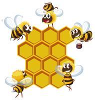 Glückliche Bienen und Bienenstock vektor