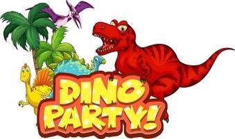 süße Dinosaurier-Cartoon-Figur mit Dino-Party-Schriftart vektor