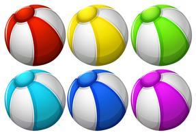 Sex färgglada bollar